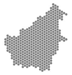 Gray hexagon borneo island map vector