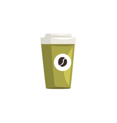 green take away paper coffee cup hot coffee vector image