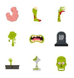 Green zombie icon set flat style vector