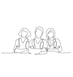 group team doctors therapist minimalistic vector image