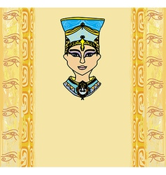 grunge frame with Egyptian queen vector image