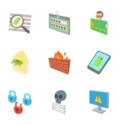 Hacking icons set cartoon style vector