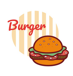 hamburger fast food cartoon vector image