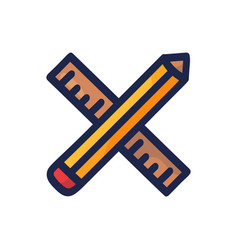 hand drawn crossed pencil and ruler cartoon vector image