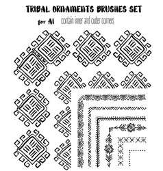 Hand-drawn ethnic ornamental brushes set vector