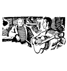 hand drawn sketch of man with guitar vector image
