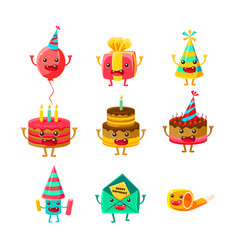 happy birthday and celebration party symbols vector image