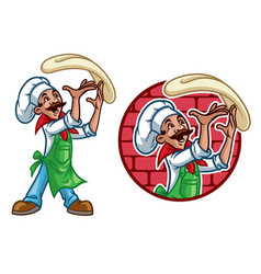 Happy chef throw the pizza dough vector