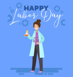Happy labor day poster or greeting card design vector