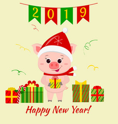 happy new year and merry christmas greeting card vector image