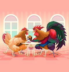 hen and rooster in a cafe vector image