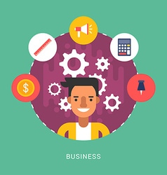 in Flat Design Style Business Icons and vector image