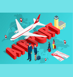isometric airport travel concept passenger vector image