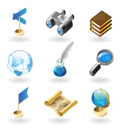Isometric-style icons for geography vector image