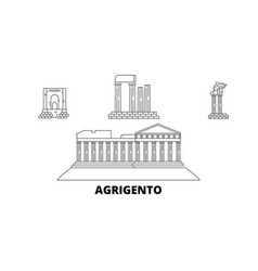 Italy agrigento line travel skyline set italy vector