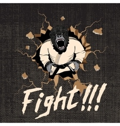 Judoka-gorilla hit a wall vector