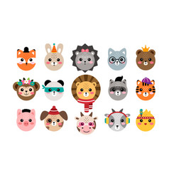 Kawaii set cute animal portraits vector