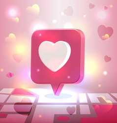 Liked romantic place pin icon over city block map vector image