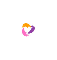 love heart circle hand care valentine logo vector image