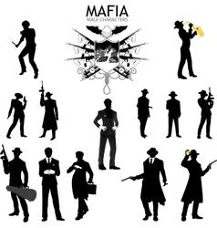 Male characters Silhouettes retro Mafia set vector image vector image