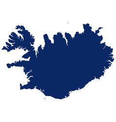 map iceland in blue colour vector image