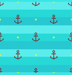 Marine pattern seamless stripes waves and anchor vector