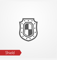 medieval shield with flag silhouette icon vector image