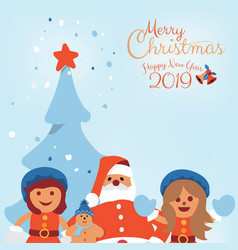 merry christmas greeting card with kids and santa vector image