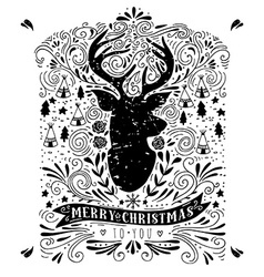 Merry Christmas poster with reindeer vector image