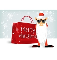 Merry Christmas shopping bag vector image