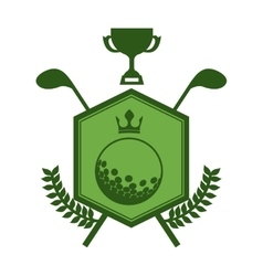 Monochrome silhouette emblem with olive branchs vector