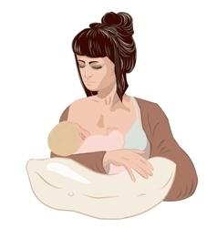 Mother breastfeeding her newborn baby child vector image