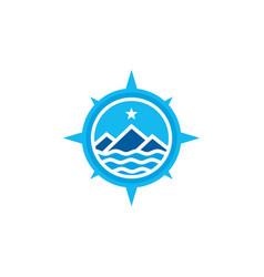 mountain adventure with compass badge logo design vector image