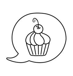 muffin into speech bubble black and white vector image