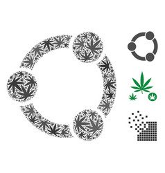 Network relations mosaic of weed leaves vector