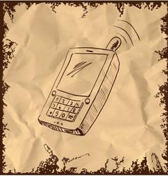 Old mobile phone on vintage background vector