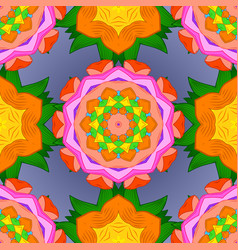 Orange green and violet colors ethnic mandalas vector