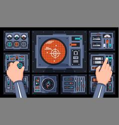 Pilot hands on control panel spaceship vector
