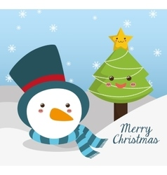 Pine tree and snowman cartoon of chistmas design vector