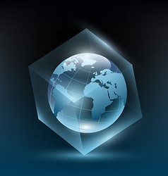 Planet earth in a glass cube vector