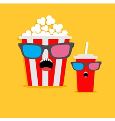 Popcorn box and soda glass Screaming characters in vector image vector image