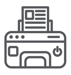 printer line icon device and print fax sign vector image