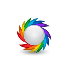 Rainbow button vector image