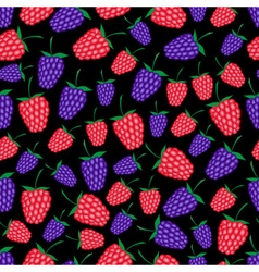 Raspberries and blackberries fruit summer seamless vector