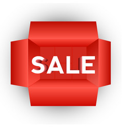red box top open with text sale vector image