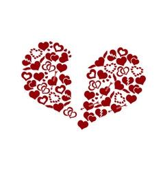 Red valentine broken hearth love symbols in big vector