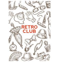 retro club vintage accessories hats and umbrellas vector image