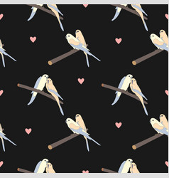seamless pattern with a cute couple of birds vector image