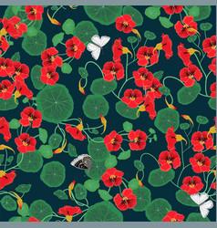 seamless pattern with nasturtium flowers vector image
