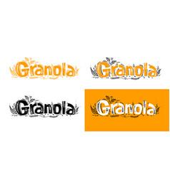 Set granola logo template with handwritten vector